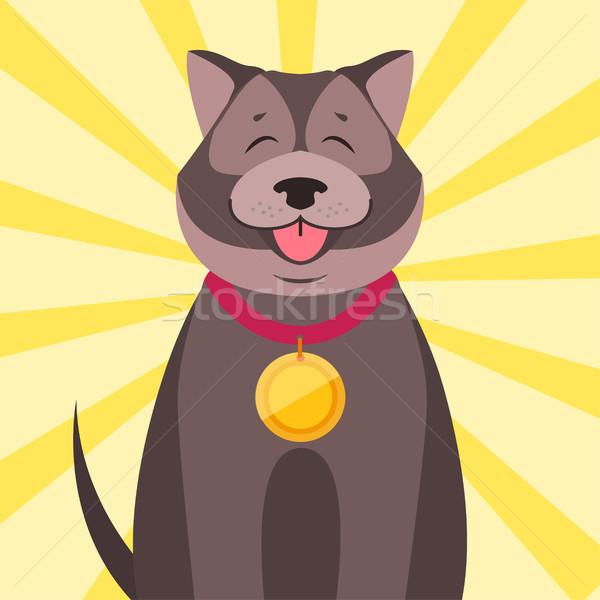 счастливым собака медаль Cartoon вектора Cute Сток-фото © robuart