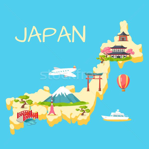 Utazás Japán turisztikai vektor építészeti természet Stock fotó © robuart
