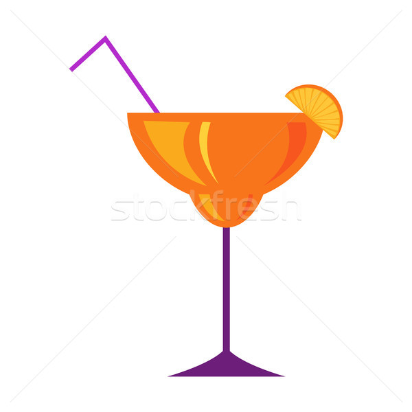 Margarita Glass with Citrus Cocktail Flat Vector  Stock photo © robuart
