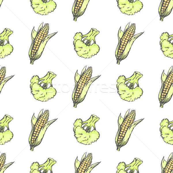 Corn Cobs and Broccoli on White Wrapping Paper Stock photo © robuart