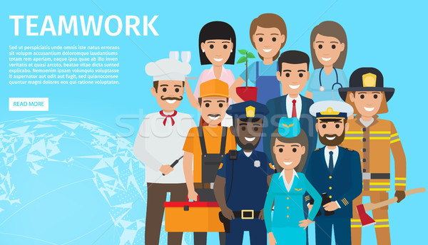 Teamwork of People with Different Profession Stock photo © robuart