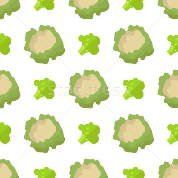 Karfiol brokkoli végtelen minta izolált fehér végtelen Stock fotó © robuart