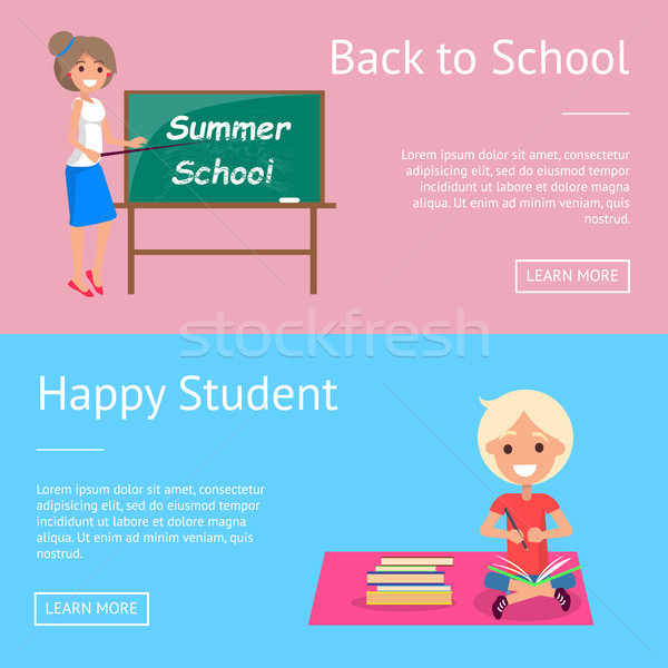 Back to School Web Banners with Teacher and Pupil Stock photo © robuart