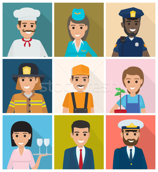 Set of Professions. Nine Square Icons Flat Design Stock photo © robuart