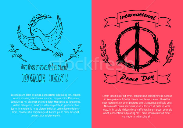International Peace Day Symbols on Bright Posters Stock photo © robuart