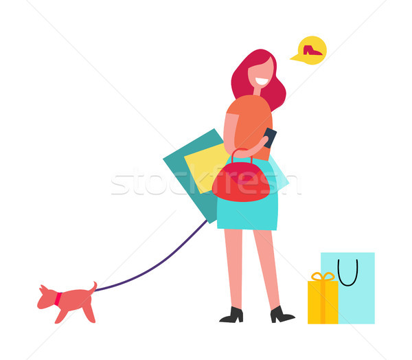 Woman with Red Hair Vector Illustration Shopping Stock photo © robuart