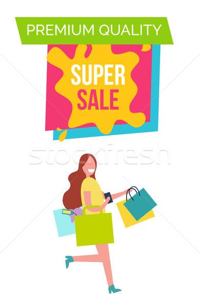 Premie kwaliteit super verkoop poster titel Stockfoto © robuart