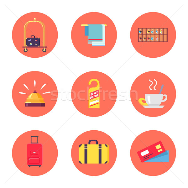 Hotel Stuff and Baggage Icons Vector Illustration Stock photo © robuart