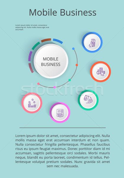 Mobil üzlet megoldás bemutató ikonok jövedelem Stock fotó © robuart