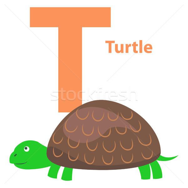 Alphabet Illustration for Letter T with Turtle Stock photo © robuart