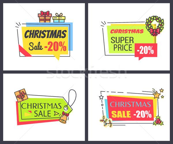 ストックフォト: クリスマス · 販売 · 20 · ポスター · コレクション · ステッカー