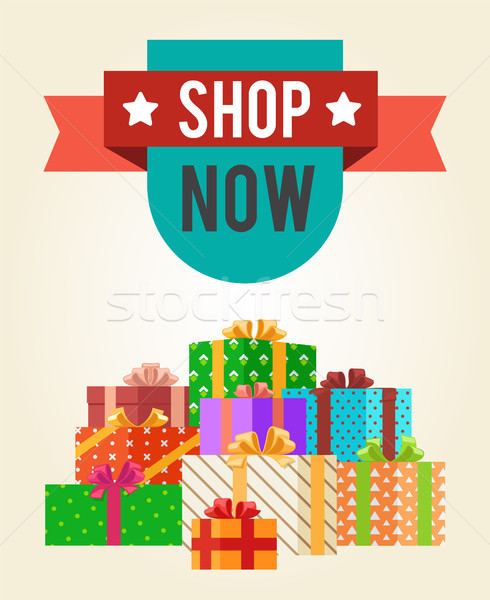 Shop Now Best Hot Price Promo Label with Ribbon Stock photo © robuart