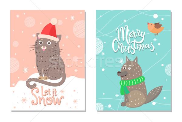 Vrolijk christmas sneeuw 70s briefkaart kat Stockfoto © robuart