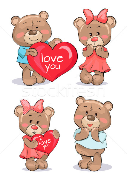 Pairs of Soft Fluffy Teddies Holds Heart with Text Stock photo © robuart