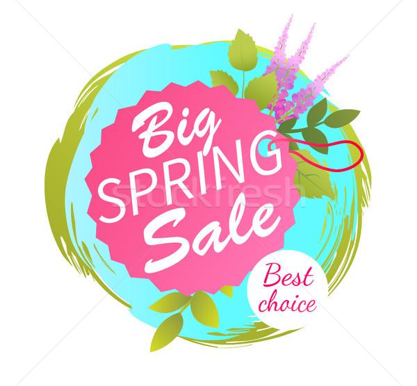 Duży wiosną sprzedaży najlepszy reklama etykiety Zdjęcia stock © robuart