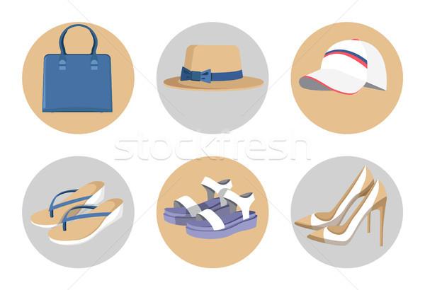 Kézitáska sapkák divat cipők szett színes Stock fotó © robuart