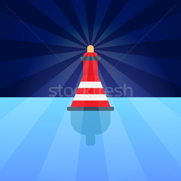 Single Bout on Bright Blue Water, Colorful Poster Stock photo © robuart