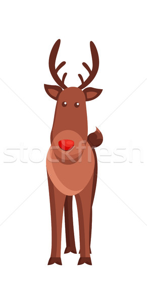 Christmas Deer Horned Animal Vector Illustration Stock photo © robuart