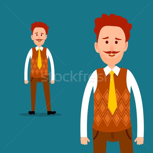 Trabalhador de escritório vetor homem laranja cardigã Foto stock © robuart