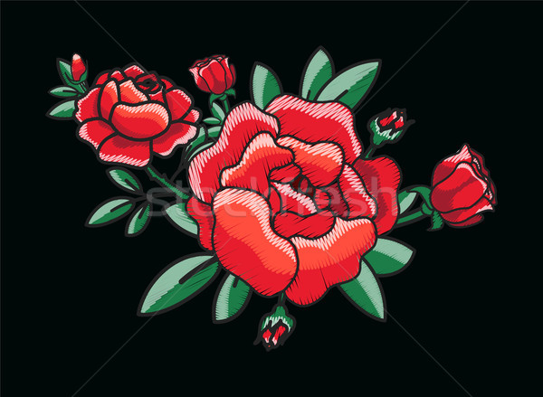 Stylized Red Roses Bush on Vector Illustration Stock photo © robuart