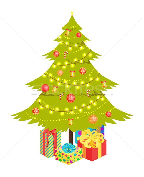 クリスマスツリー プレゼント 装飾された ラッピング 孤立した ストックフォト © robuart