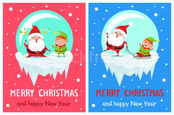 Heiter Weihnachten glückliches neues Jahr elf Banner Stock foto © robuart