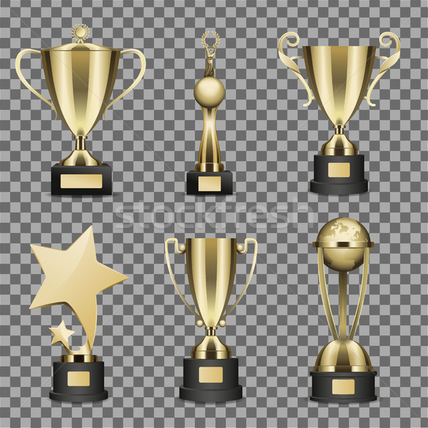 Concept of Six Golden Trophy Cups for Champion Stock photo © robuart