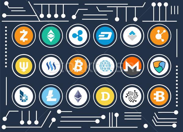 Cryptocurrency Icons Set on Computer Microscheme Stock photo © robuart