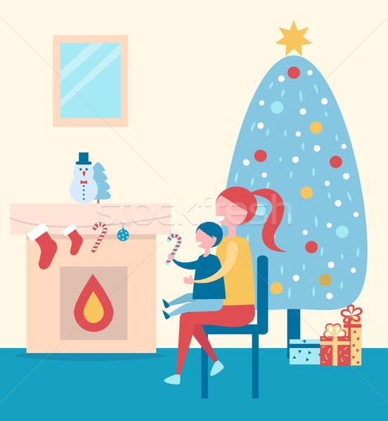 Stockfoto: Christmas · atmosfeer · poster · moeder · kid · naar