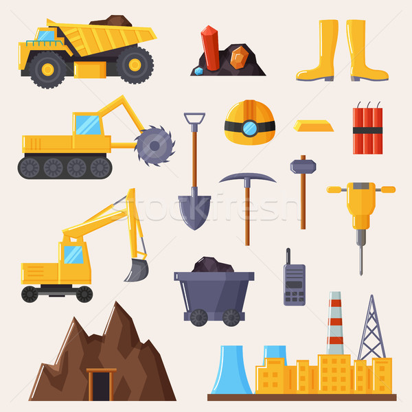 Mining Industry and Tools on Vector Illustration Stock photo © robuart