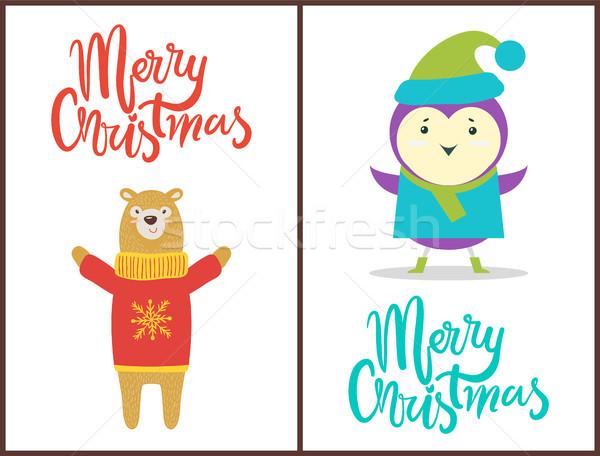 Alegre Navidad felicitación feliz animales caliente Foto stock © robuart