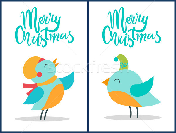 Merry Christmas Birds Titles Vector Illustration Stock photo © robuart