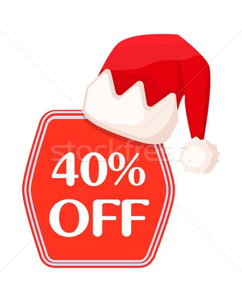 40 el felirat piros ünnepi karácsony Stock fotó © robuart