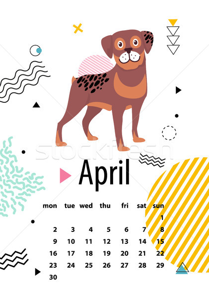 April Calendar for 2018 Year with Loyal Rottweiler Stock photo © robuart