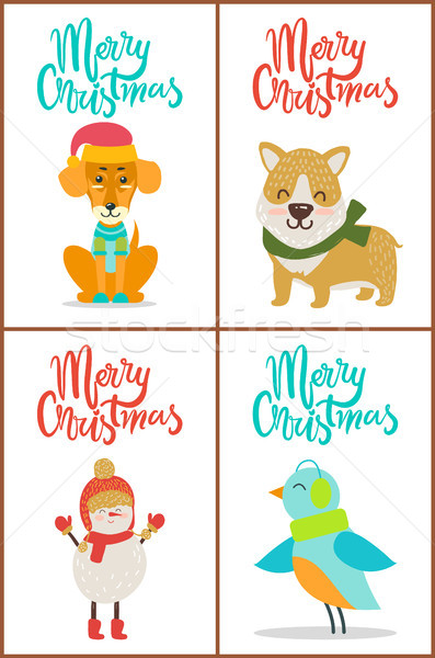 Merry Christmas Collection Dog Snowman Bird Puppy Stock photo © robuart