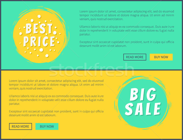 Best Price Big Sale Web Posters with Buttons Set Stock photo © robuart
