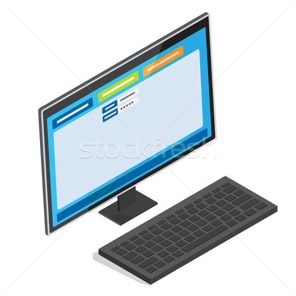 Online Authorization Page on PC Screen Vector Stock photo © robuart