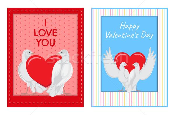 Witte paren hart illustraties ingesteld Stockfoto © robuart