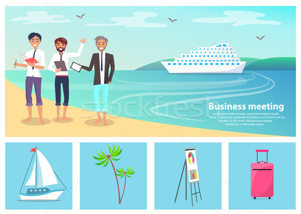 Business Meeting Men and Beach Vector Illustration Stock photo © robuart