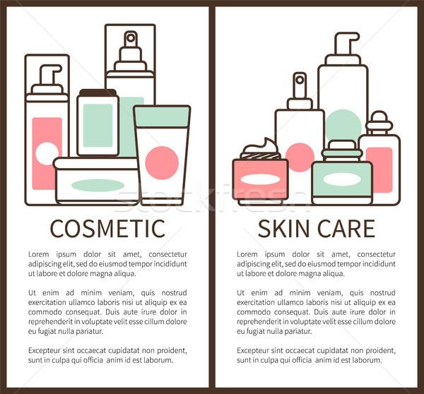 Kozmetikai bőrápolás poszter plakátok gyűjtemény csövek Stock fotó © robuart