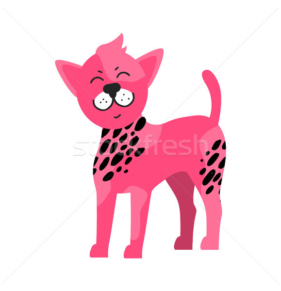 Pink Dog Black Spots Vector Illustration Symbol Stock photo © robuart
