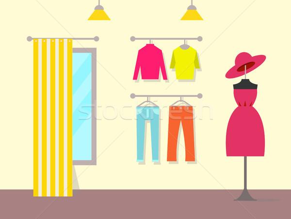 Kellemes belső ruházat bolt szín poszter Stock fotó © robuart