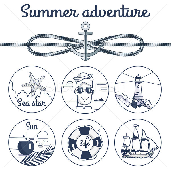 Summer Adventure Monochrome Poster with Anchor Stock photo © robuart