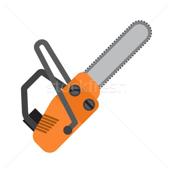 Oranje kettingzaag vector icon geïsoleerd witte Stockfoto © robuart