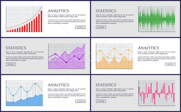 Analítica estadística color gráficos colección estrategia de negocios Foto stock © robuart