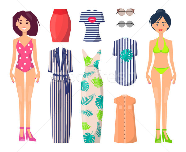 Girls in Swimwear with Stylish Summer Clothes Set Stock photo © robuart