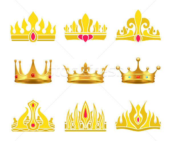 Kings and Queens Gold Crowns Inlaid with Gems Stock photo © robuart