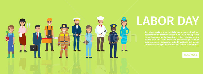 Labor Day Flat Vector Web Banner with Professions Stock photo © robuart