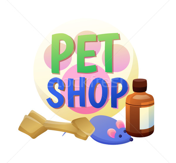 Pet Shop Poster and Items Vector Illustration Stock photo © robuart