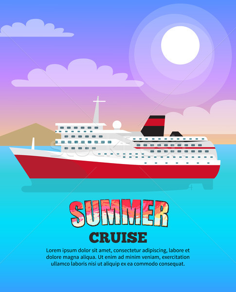 Summer Cruise Poster depicting Large Liner Stock photo © robuart